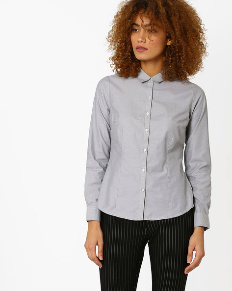 Striped Button-Front Shirt By Annabelle By Pantaloons ( Black )