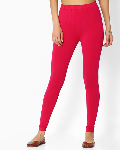 Ankle-Length Leggings With Elasticated Waistband By Melange By Lifestyle ( Fuschia )