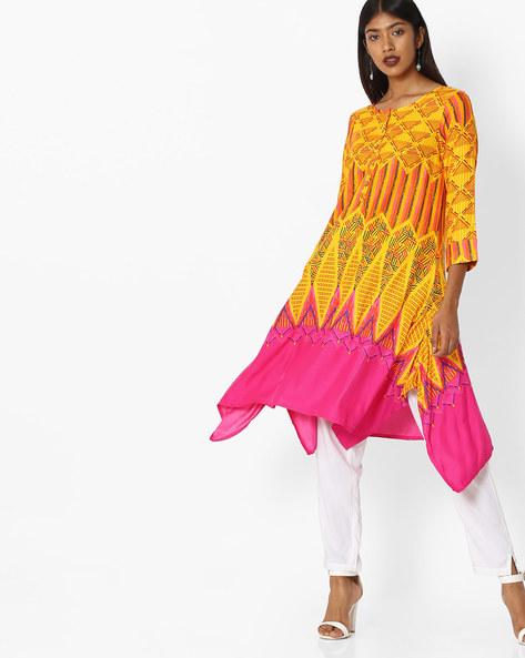 Printed Kurta With Handkerchief Hemline By Global Desi ( Yellow )