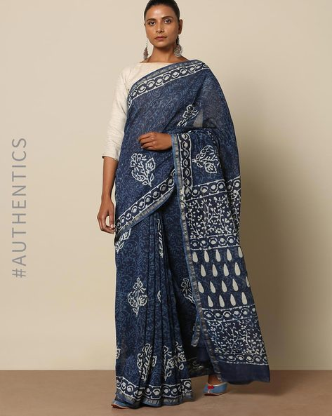 Handblock Indigo Print Chanderi Saree With Zari By Indie Picks ( Indigo ) - 460146833001