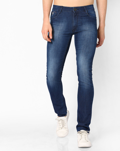Slim Fit Light-Wash Jeans By JOHN PLAYERS ( Mediumblue )