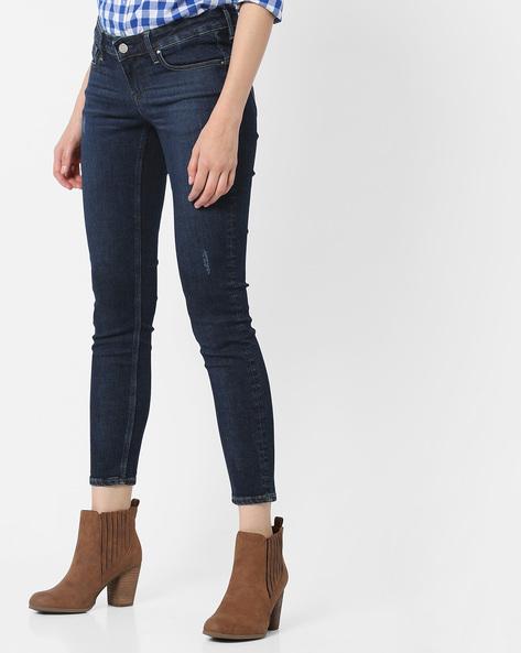 Lightly Distressed Slim Fit Jeans By Lee ( Blue ) - 460106578001