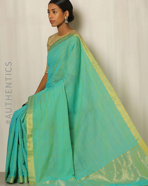 Handwoven Mangalgiri Cotton Saree With Zari Border By Indie Picks ( Turquoise )