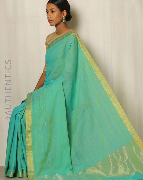 Handwoven Mangalgiri Cotton Saree With Zari Border By Indie Picks ( Turquoise )