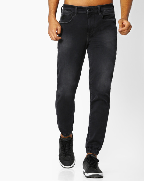 Lightly Washed Mid-Rise Joggers By US POLO ( Black )