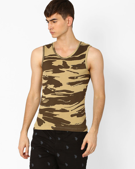 Camouflage Print Cotton Vest By Killer ( Khaki )