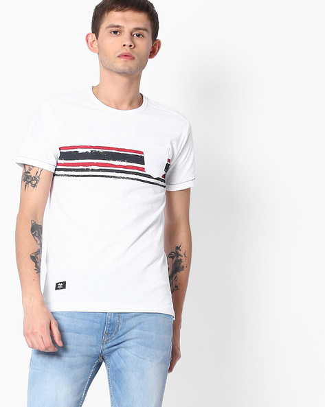 Crew-Neck T-shirt With Vented Hems By MUFTI ( White )
