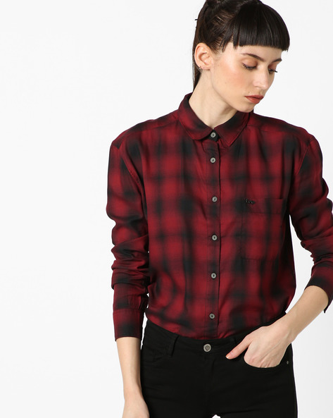 Checked Shirt With Patch Pocket By Lee ( Red )