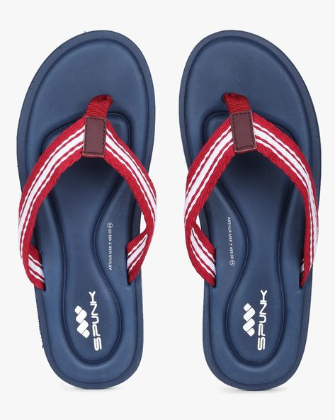 Flip-Flops With Contrast & Striped Straps By Spunk ( Navy )