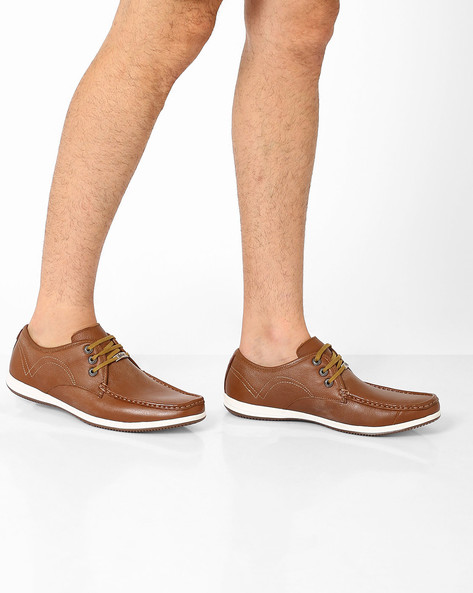 Genuine Leather Lace-Up Casual Shoes By Lee Cooper ( Tan )