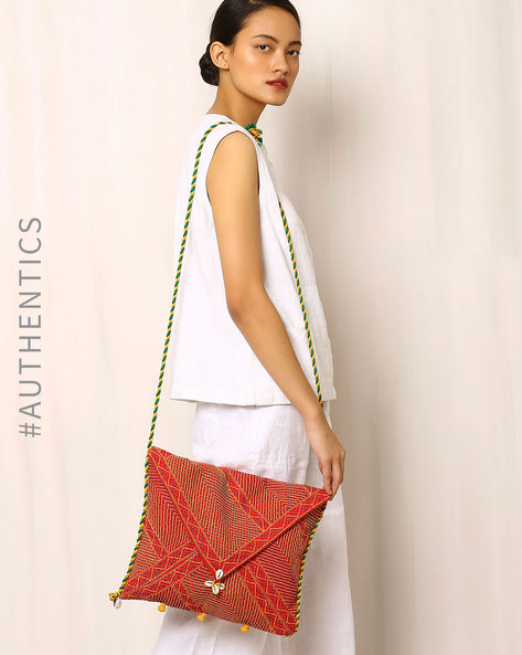 Lambani Embroidered Cotton Sling Bag By Indie Picks ( Red ) - 460039848001