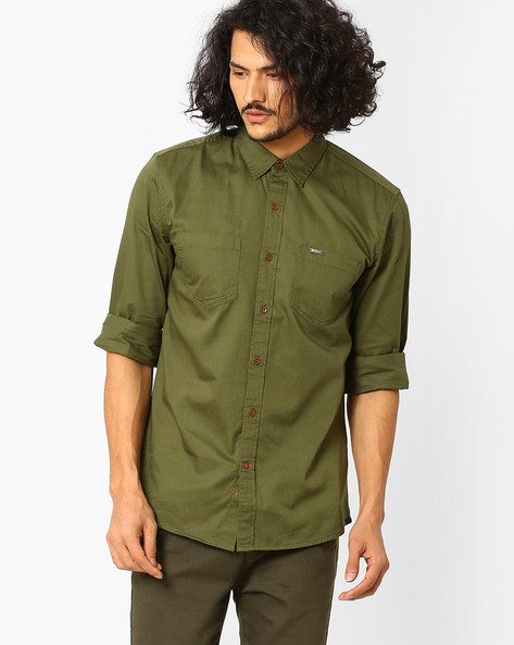 Cotton Twill Shirt With Patch Pockets By WRANGLER ( Green )