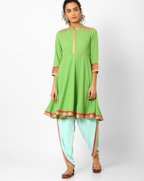 Anarkali Kurta With Dhoti Pants By AJIO ( Green )