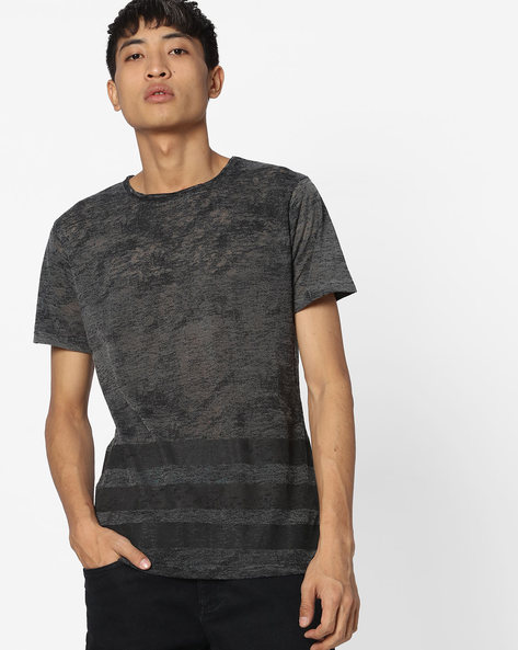 Slim Fit Crew-Neck T-shirt With Striped Hem By Blue Saint ( Charcoal )