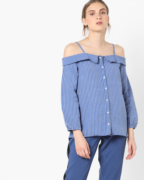 Off-Shoulder Top With Spaghetti Straps By Rena Love ( Blue )