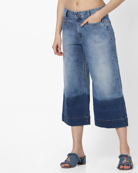 Stone-Wash Relaxed Fit Denim Culottes By Pepe Jeans ( Stone )