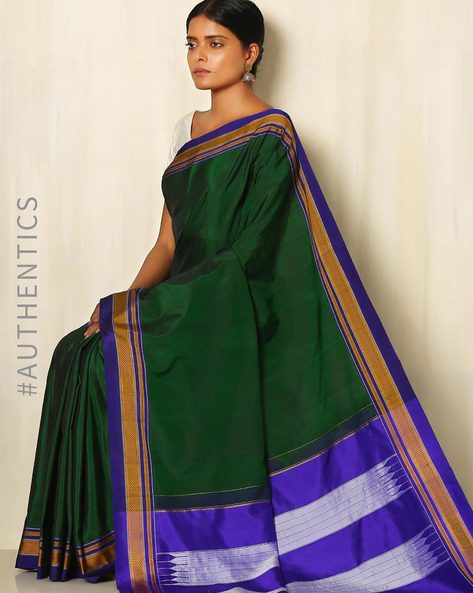 Handwoven Chikki Paras Cotton Silk Ilkal Saree By Shri Chamundeshwari ( Green )