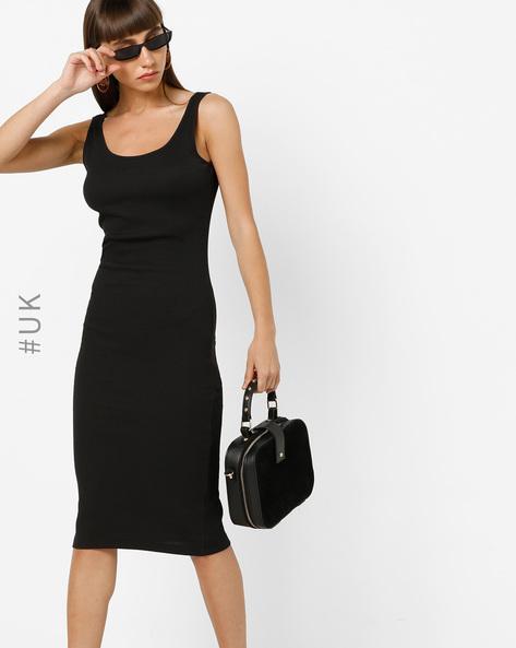 Bodycon Sleeveless Midi Dress By BRAVE SOUL ( Black )