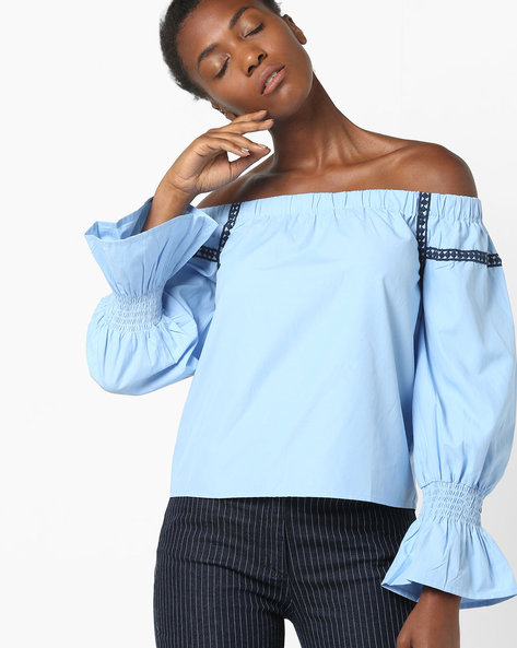 Off-Shoulder Top With Lace Trims By AJIO ( Blue )