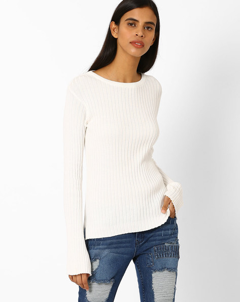 Ribbed High-Low Hem Pullover By AJIO ( Offwhite )