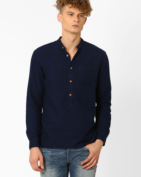 Regular Fit Shirt With Mandarin Collar By Celio ( Marine )