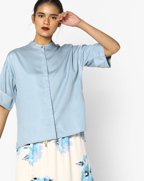 Boxy Shirt With Band Collar By Project Eve WW Casual ( Blue )