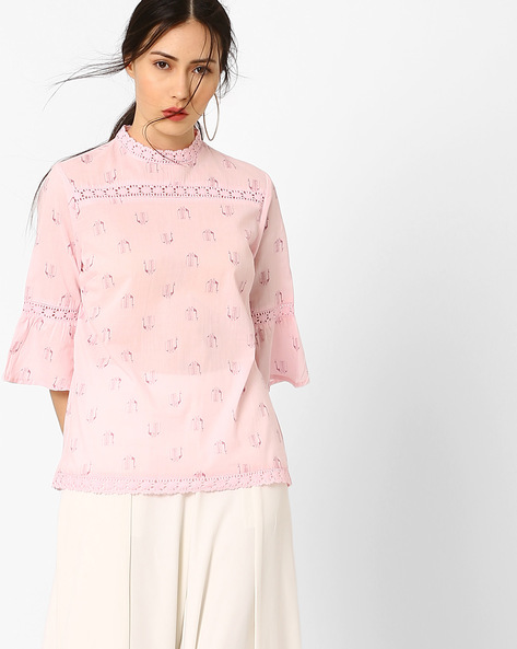 Bell Sleeves Top With Lace Inserts By AJIO ( Lightpink )