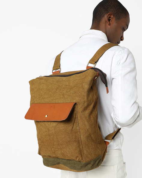 Woven Backpack With Flap Pocket By AJIO ( Beige )