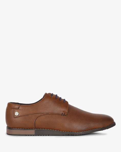 Textured Derby Shoes With Contrast Lace-Ups By DUKE ( Gold )