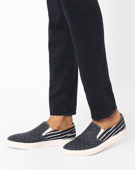 Printed N9-Treated Canvas Slip-Ons By AJIO ( Navy ) - 460025904002