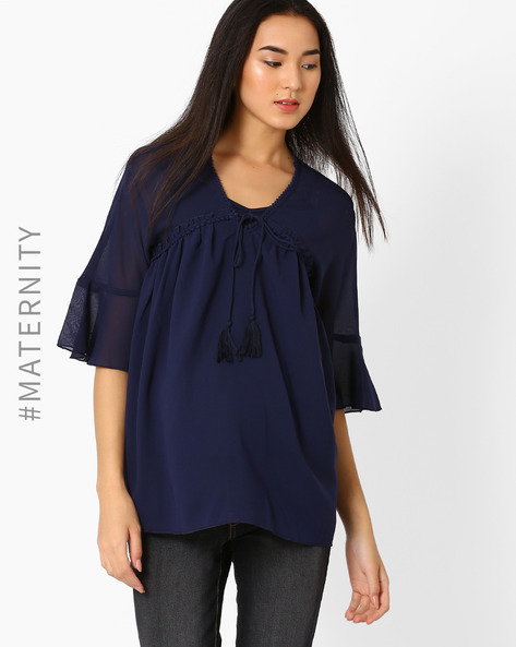 Maternity Top With Tasselled Tie-Up By Oxolloxo ( Blue )