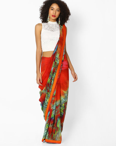 Printed Saree With Contrast Border By Vastrangi ( Multicolor )