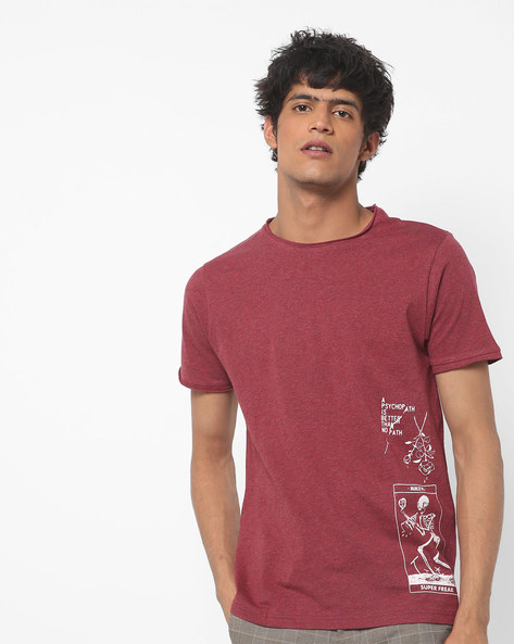 Heathered Crew-Neck T-shirt With Placement Print By AJIO ( Maroon )