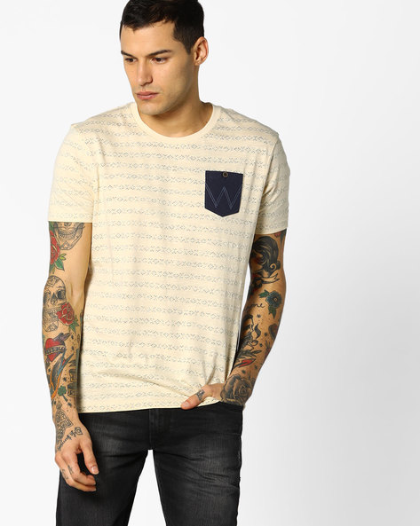 Printed T-shirt With Contrast Patch Pocket By WRANGLER ( Ecru )