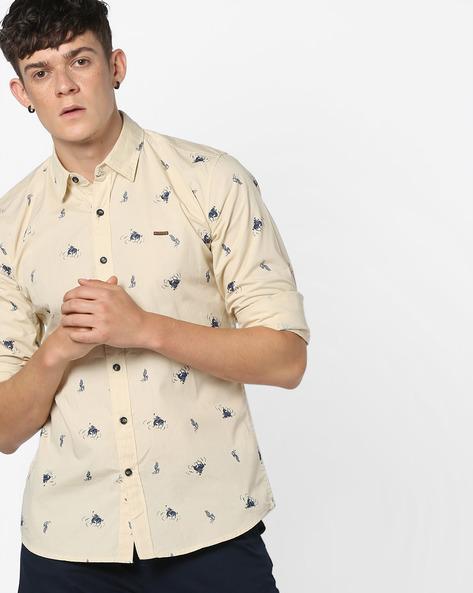 Novelty Print Cotton Shirt By WRANGLER ( Cream )