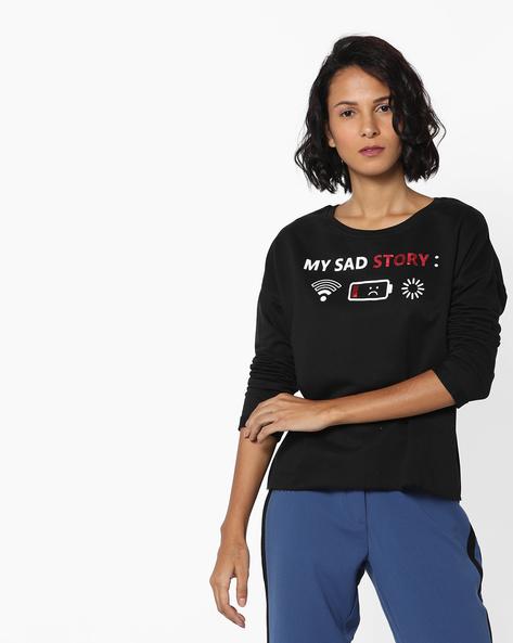 Printed Sweatshirt With Drop-Shoulder Sleeves By RIO ( Black )