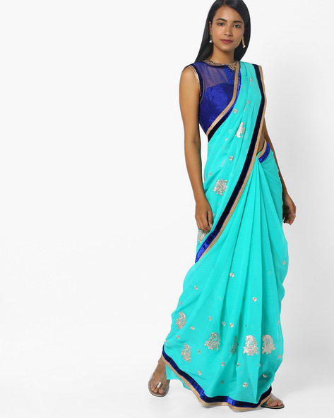 Saree With Zari Embroidery By CHHABRA 555 ( Blue )