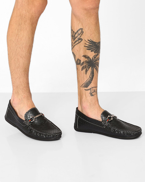 Textured Loafers With Metal Accents By Carlton London ( Black )