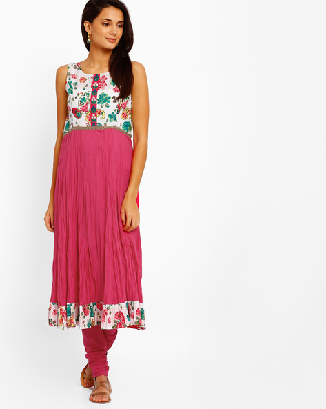Printed Sleeveless Anarkali Kurta By AJIO ( Pink )