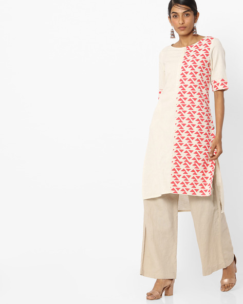 Printed High-Low Straight Kurta By AVAASA WORKWEAR ( Ltpeach )