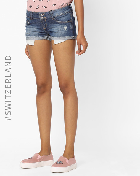 Mid-Rise Denim Shorts With Frayed Hems By TALLY WEiJL ( Blue )