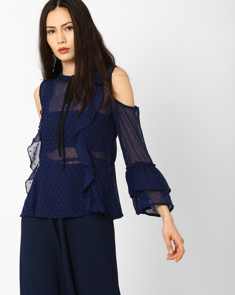 Cold-Shoulder Ruffled Top By AJIO ( Navyblue )