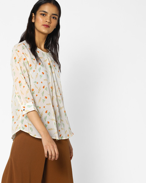 Pleat-Front Floral Print Top By PE WW Work ( White )