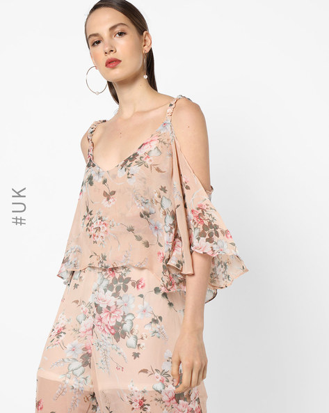 Floral Print Popover Jumpsuit By OEUVRE ( Multi )