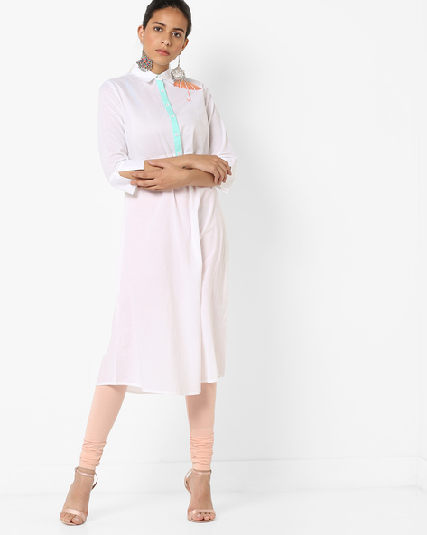 Straight Kurta With Embroidery By AJIO ( Offwhite )