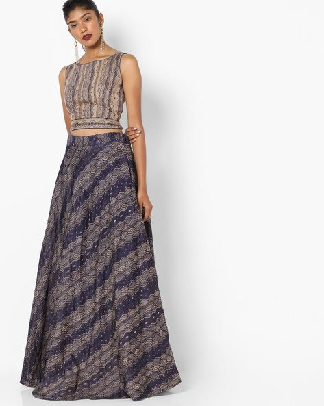 Semi-Stitched Lehenga Choli Set By Parmita ( Blue )