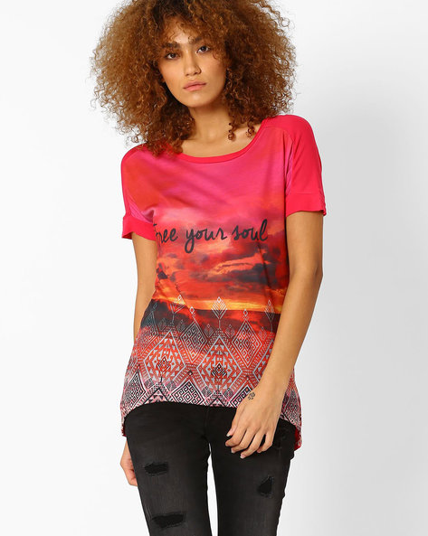 Graphic Print Top With Dipped Hem By Ajile By Pantaloons ( Fuchsia )