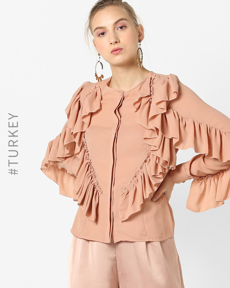 Ruffle Top With Concealed Button Placket By TRENDYOL ( Pink )