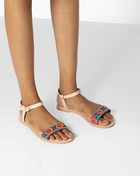 85b17f25395 49% OFF on THEEA Beaded Strap Genuine Leather Flat Sandals on Ajio.com