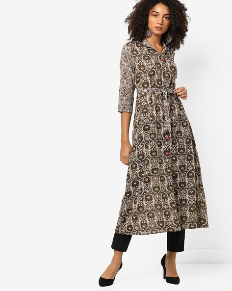 Printed Flared Kurta With Tie-Up By ETHNIC CURRY ( Beige )
